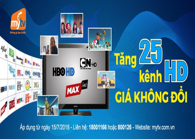 Tăng 25 kênh HD, truyền hình MyTV hiện dẫn đầu về số lượng kênh chất lượng cao