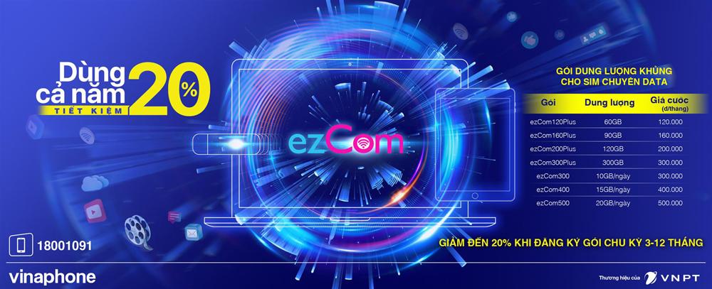 VinaPhone tung ra hàng loạt gói Data ezCom giá rẻ tiết kiệm đến 20%