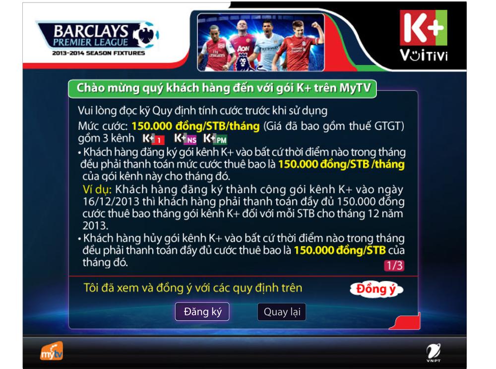 Hướng dẫn đăng ký kênh K+ trên truyền hình MyTV