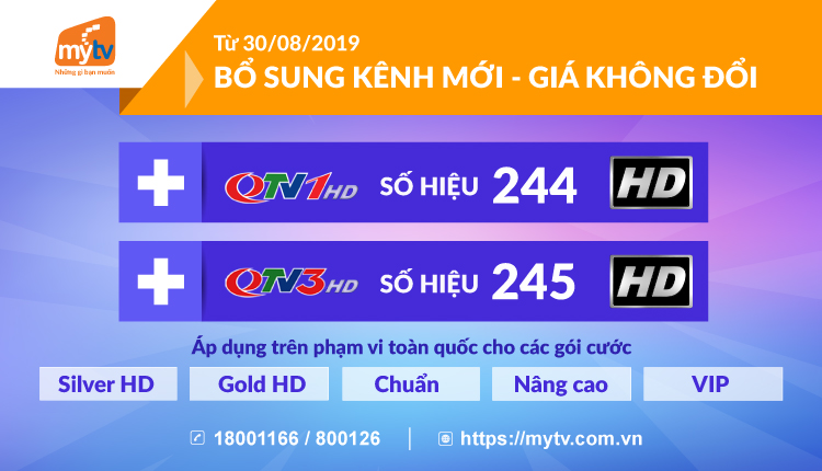 MyTV bổ sung kênh mới, giá không đổi
