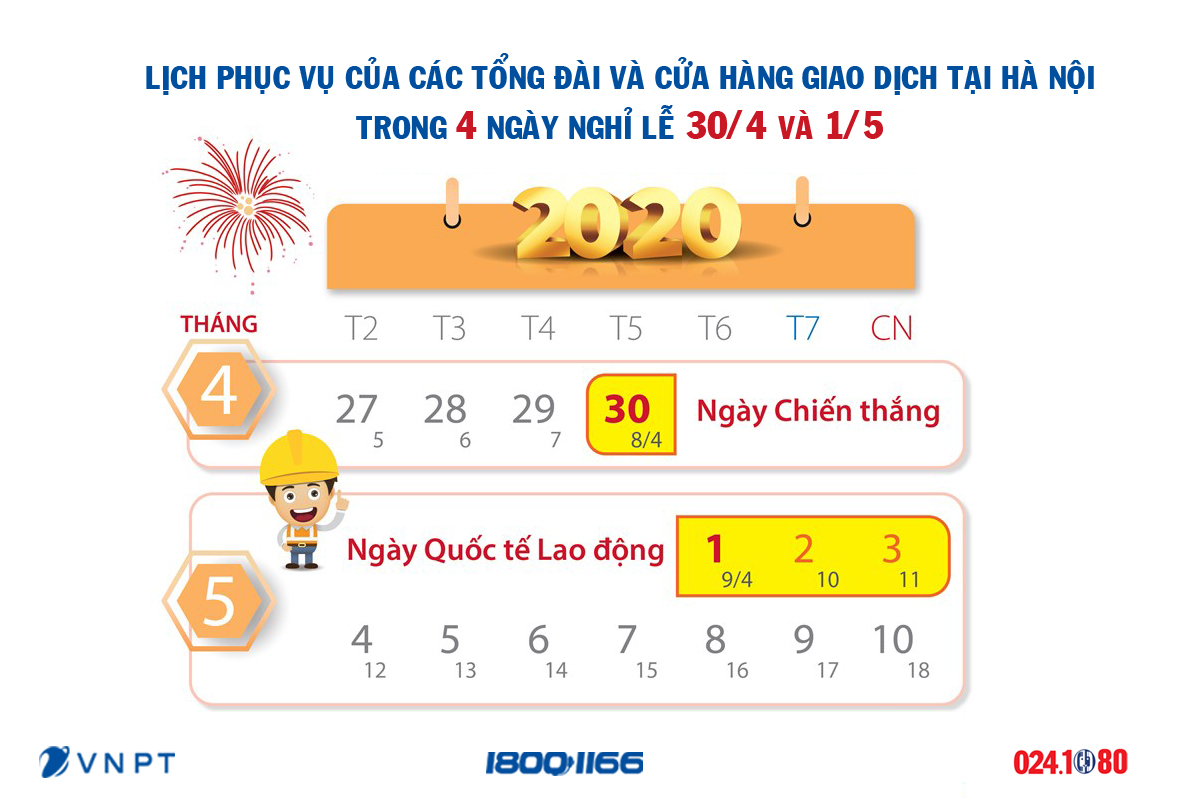 Lịch phục vụ trong kỳ nghỉ lễ 30/4 - 1/5 của các tổng đài và cửa hàng giao dịch tại Hà Nội