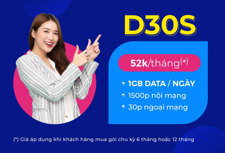 1500 phút gọi nội mạng Vinaphone, 30 phút ngoại mạng, 1GB data/ngày chỉ với 52.0000đ/tháng