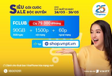Mua sim kèm gói FCLUB Vinaphone nhận ngay 90GB và 1500 phút