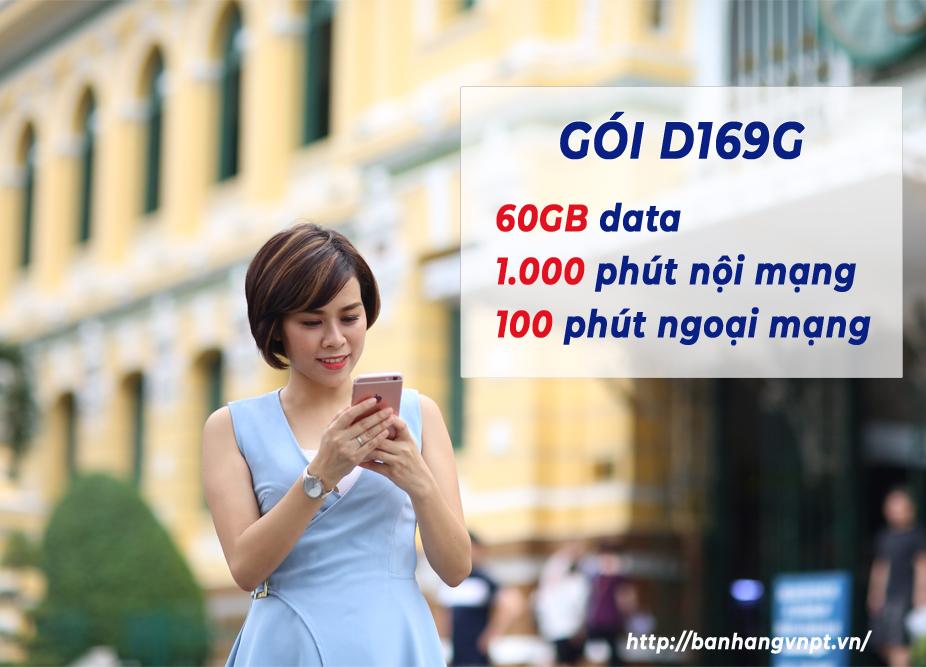Đăng ký gói D169G VinaPhone có ngay 60GB, 2100 phút mỗi tháng
