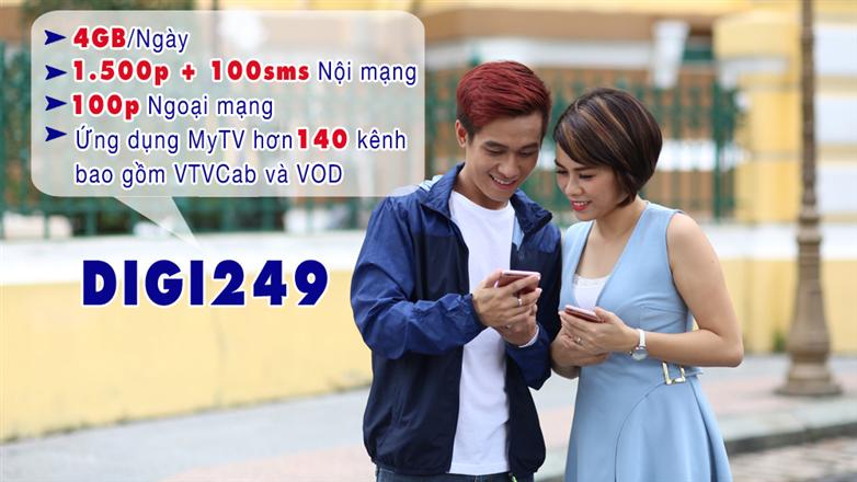 Gói DIGI249 VinaPhone 120GB, phút gọi, SMS, miễn phí truyền hình My TV chỉ 249k
