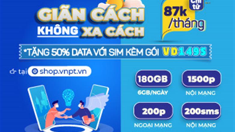 Ưu đãi siêu khủng VD149S VinaPhone: Tặng thêm 50% dung lượng data