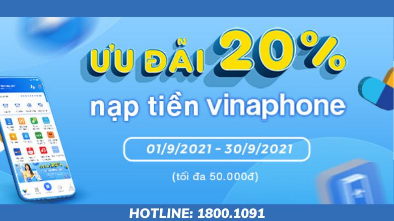 Khuyến mãi 20% nạp tiền di động Vinaphone qua VNPT Pay